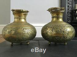 Antique Old Pair Of Brass Bronze Chinese Incense Burner Bowls Engraved Dragons