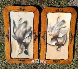 Antique Old Pair of Two Duck Hunting Painting Dead Game Ducks Oak Frames Signed