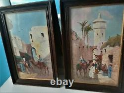 Antique Orientalist Painting Pair oil on board listed signed Coulson c19th