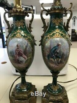 Antique PAIR FRANCE SEVRES URNS LAMPS Hand Ptd Artist Signed GILLES Ormolu