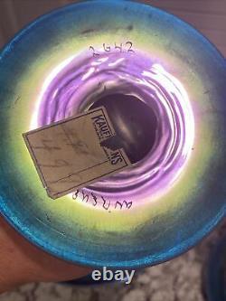 Antique PAIR Steuben Aurene Glass Celeste BLUE AURENE Shape 2642 8 H Compotes