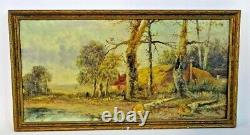 Antique Paintings, Oil On Canvas, Forest Landscapes, Signed, Pair, Set of Two