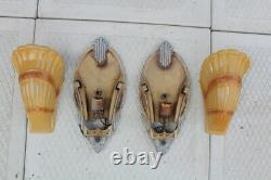 Antique Pair Art Deco Slip Shade Wall Sconce Sign Markel Glass Shade Theater