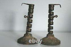 Antique Pair Courting Candlestick Spiral Wrought Iron Signed LM LN 1700's
