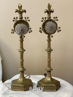Antique Pair French Fleur De Lys Lis Brass Bronze Art Deco Nouveau Lamp Signed