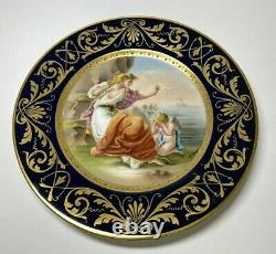 Antique Pair Imperial Royal Vienna Porcelain Hand Painted Cabinet Plates Signed