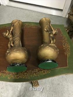Antique Pair L & F Moreau French Spelter Vases Signed Foundry Mark Cherubs Frog