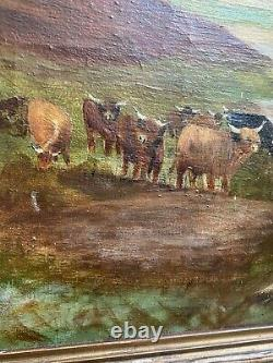Antique Pair Of A Cameron Scottish Highland Oil On Canvas Landscape Paintings