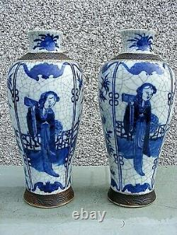 Antique Pair Of Chinese Crackle Wear Vases Blue And White Large Signed