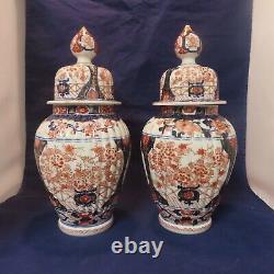 Antique Pair Of Imari Japanese Ginger Jars Vases Signed