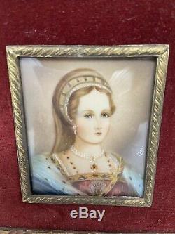 Antique Pair Of Miniature Portraits By Italian Artist 19th Century Good Conditio