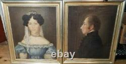 Antique Pair Of O/c Portraits Signed By Artist