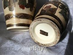 Antique Pair Of Signed Figural Satsuma Vases 6
