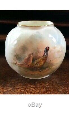 Antique Pair Royal Worcester Hand Painted Pheasant Bird Posy Vase Signed STINTON