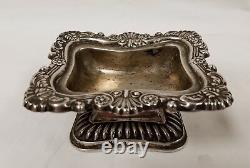 Antique Pair Signed Austrian Silver Pedestal Master Salts