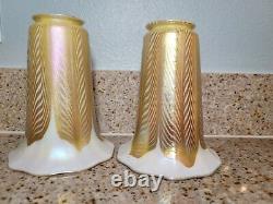 Antique Pair Signed QUEZAL Pulled Feather Aurene Art Nouveau Glass Lamp Shades