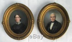 Antique Pair of 19th C. American Portrait Oil Paintings Signed L. M. D. Guillaum