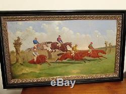 Antique Pair of Benjamin Herring Jr oil paintings 1869