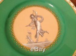 Antique Pair of Mintons Porcelain Cabinet Plates Signed with Woman Maiden Dec
