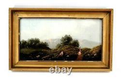 Antique Pair of Oil on Canvas Mountain Lake Fishing Scene Signed Lesler 19th Cen