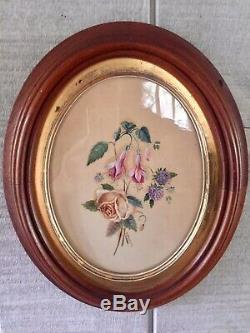 Antique Pair of Original Floral Paintings Gilt & Wood Frames Signed E Broders