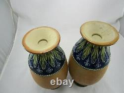 Antique Pair of Royal Doulton Slaters Stoneware 11 1/2 Vases Marked & Signed