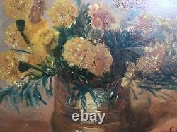 Antique Postimpressionist Oil painting Pair of Bouquet Flowers signed