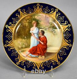 Antique Royal Vienna Hand Painted Plate Classical Scene withCouple signed W. PFOHL