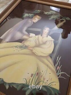 Antique Set Of 2 Brewster Lithos. Victorian Couple Morris & Bendien Rare/Signed