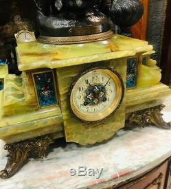 Antique Set of French Green Onyx Mantle Clock Dated1896 Signed And Pair of Vase