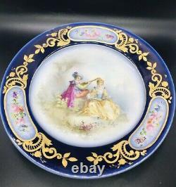 Antique Sevres Porcelain Cobalt Blue Porcelain Plate Couple Gold Trim Signed