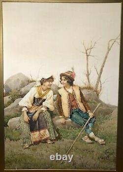 Antique Signed Filippo Indoni Italian Courting Couple Scene Watercolor Painting