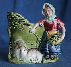 Antique Signed HK Pair Majolica Shepherd Sheep Goats Austria Pottery Spill Vases