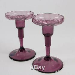 Antique Steuben Pair of Signed Amethyst Candlesticks Frederick Carder Designed