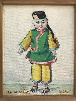 Antique Still Life China Doll Paintings pair Signed V C Hoyt b. 1880 Framed