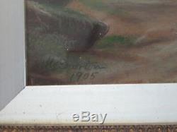 Antique VICTORIAN English LANDSCAPE Paintings Pair Lemon GOLD Frames c1905