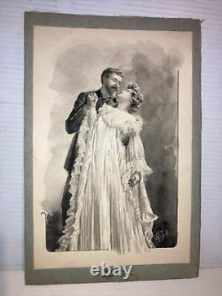 Antique Victorian Watercolor Illustration Kissing Couple woman Artist AG Thill