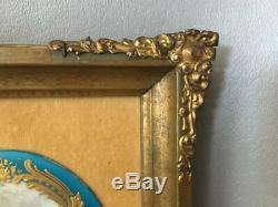 Antique Vtg Sevres Sty Blue & Gold Courting Couple Porcelain Cameo Plaque Signed