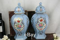 Antique pair French hand paint signed P bruny Vases in porcelain floral decor