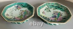 Antique pair tray chinese porcelain famille rose verte signed red mark dish