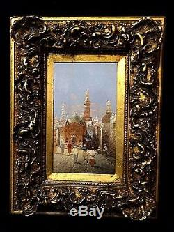 Antique rare Pair orientalist Oil Painting of Cairo English Artist Henri Carnier