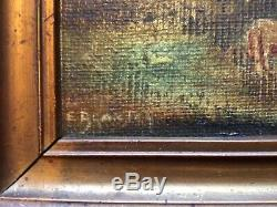 Antique vintage framed original signed oil paintings a pair by E Blanton 1876