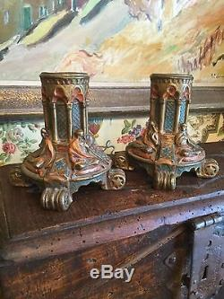 Art Deco Candle Holders Hand Painted over Copper Molded Signed Dated 1917 Pair