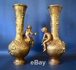 Art Nouveau French Antique Gold Patina Pair of Vases Girl & Boy Signed M. Vives