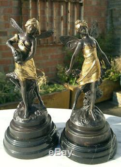 Art Nouveau Pair of Aug Moreau French Bronze Fairies signed 9 Tall