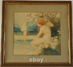 Art Nouveau watercolor paintings pair with nudes by A. Crommen 1918 Belgium