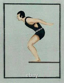 Asor Signed Vintage Swimsuit Painting Man Woman Divers Pair 2 Set Original Art