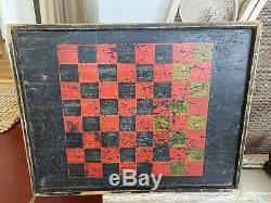 Awesome Pair Of Antique Early Painted Checker Boards Nice Folk Art Aafa