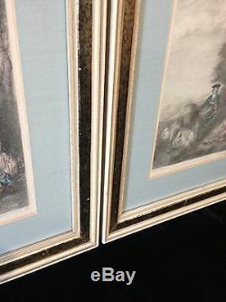 Beautiful Pair Champollion/T DE MARE Antique Etching Prints ca. 1890