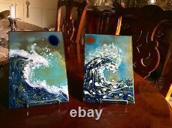 Beautiful Pair Of Modernist Art Enamel Cloisonné THE WAVEArtist Signed KAREKA